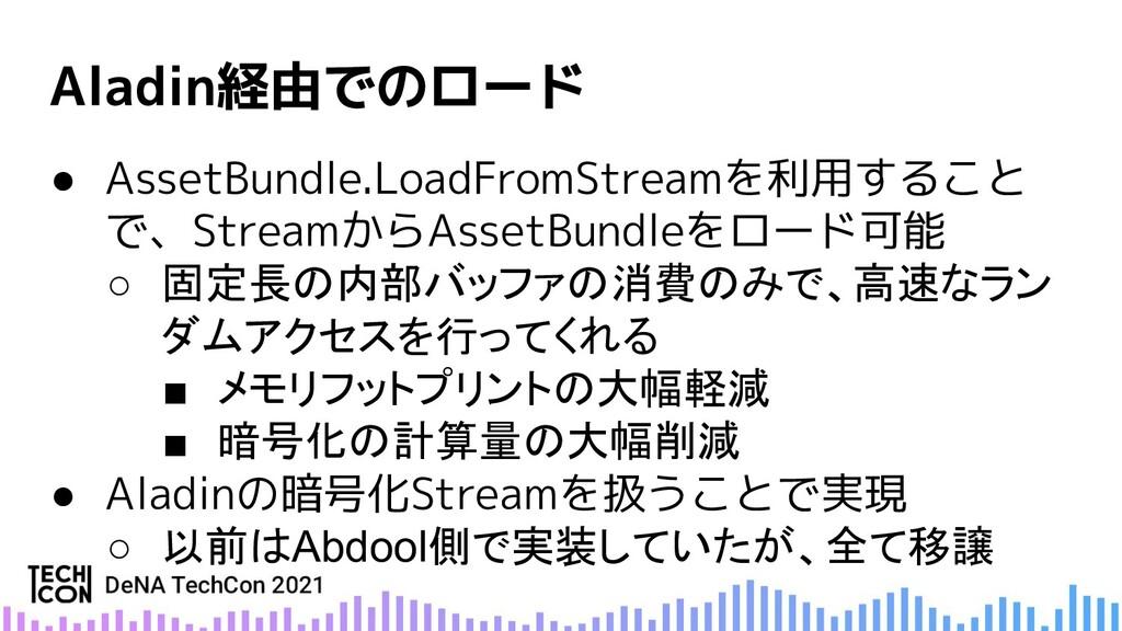 ● AssetBundle.LoadFromStreamを利用すること で、StreamからA...
