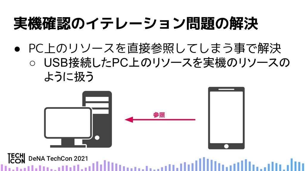 ● PC上のリソースを直接参照してしまう事で解決 ○ USB接続したPC上のリソースを実機のリ...