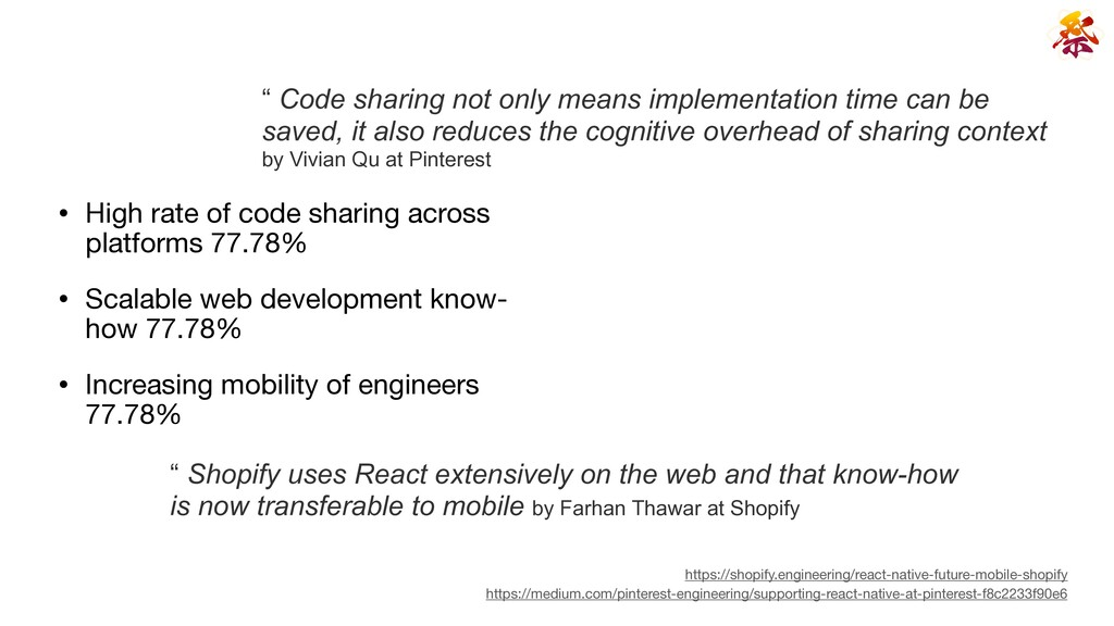 • High rate of code sharing across platforms 77...