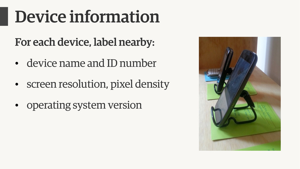 Device information For each device, label nearb...