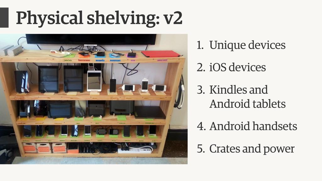 Physical shelving: v2 1. Unique devices 2. iOS ...