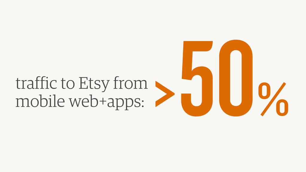 traffic to Etsy from mobile web+apps: > 50%
