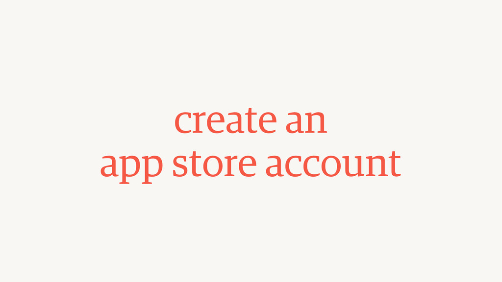 create an  app store account