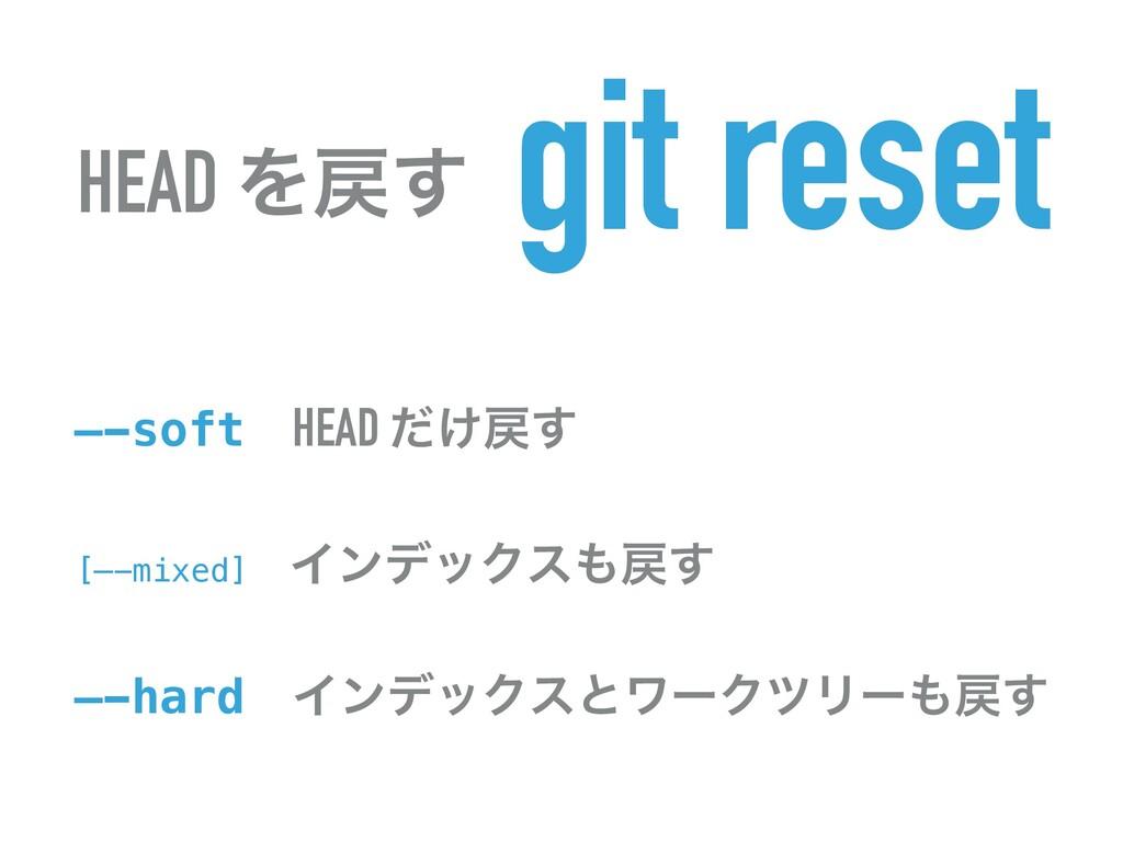 HEAD Λ͢ git reset —-softɹHEAD ͚ͩ͢ [—-mixed]ɹΠ...