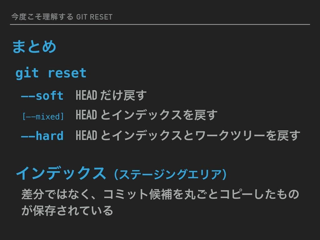 ࠓͦ͜ཧղ͢Δ GIT RESET ·ͱΊ —-softɹHEAD ͚ͩ͢ [—-mixe...