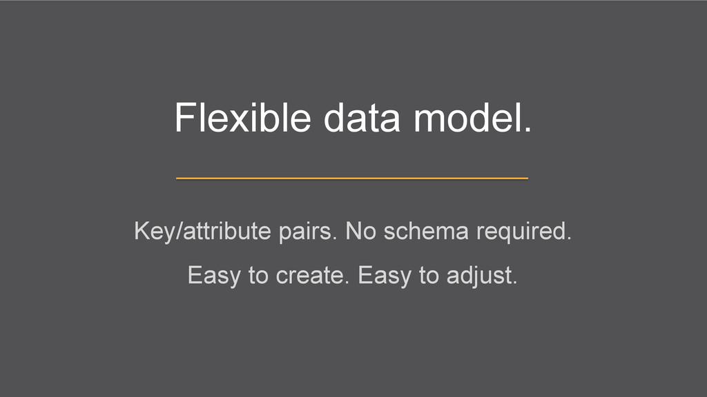 Flexible data model. Key/attribute pairs. No sc...