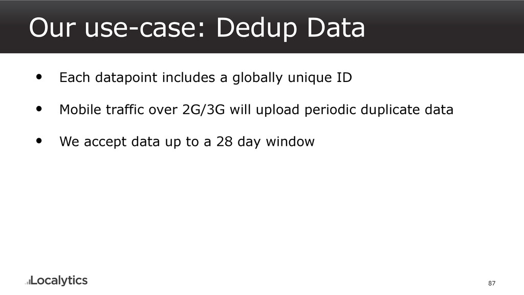 Our use-case: Dedup Data 87 • Each datapoint in...