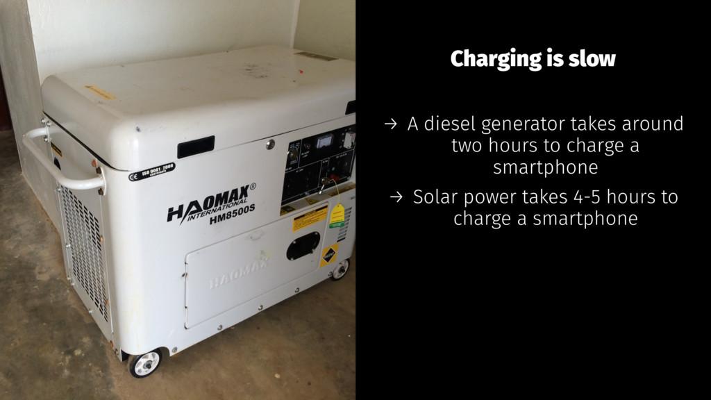 Charging is slow → A diesel generator takes aro...