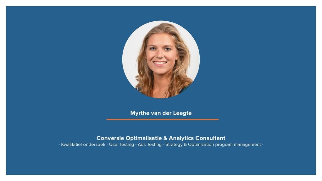 Conversie Optimalisatie & Analytics Consultant ...