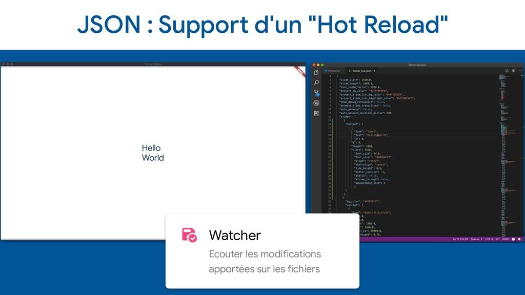 "JSON : Support d'un ""Hot Reload"" Watcher  Ecout..."