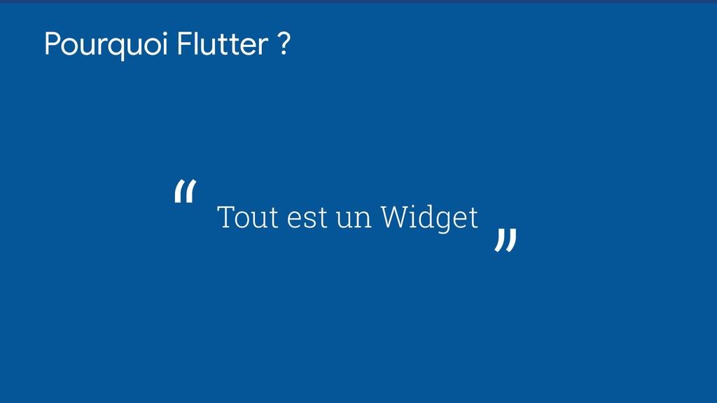 """Pourquoi Flutter ? Tout est un Widget """" """""""
