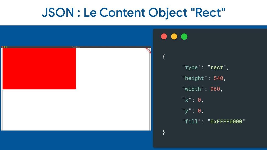 "JSON : Le Content Object ""Rect"" { ""type"": ""rect..."