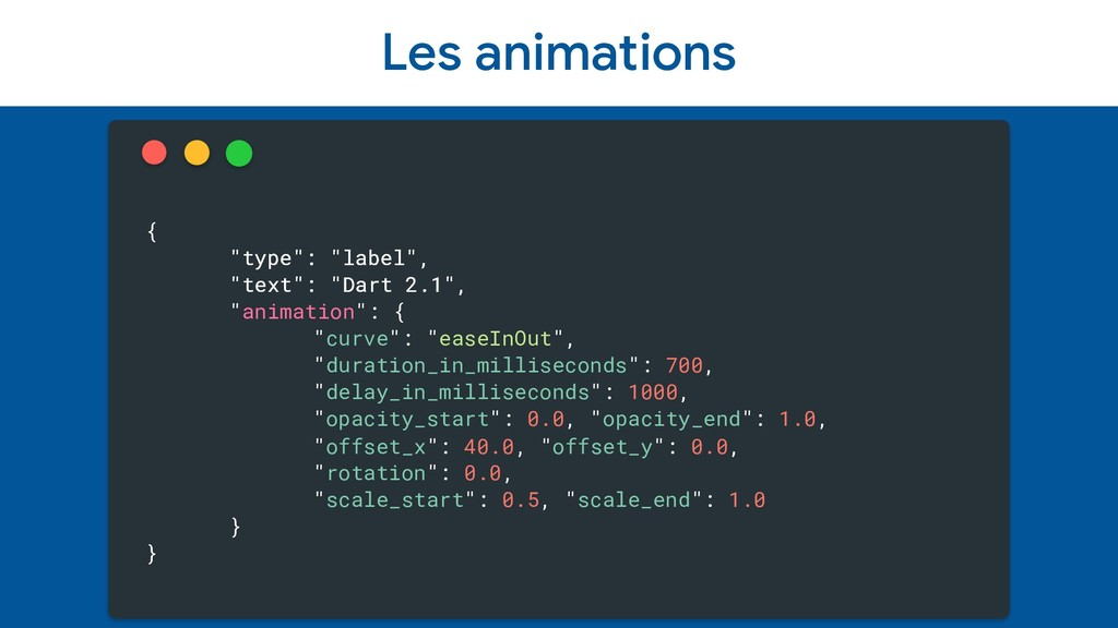 """Les animations { """"type"""": """"label"""", """"text"""": """"Dart..."""