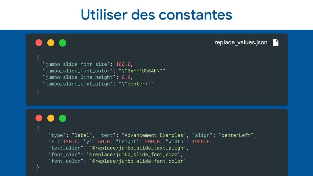 "Utiliser des constantes { ""jumbo_slide_font_siz..."