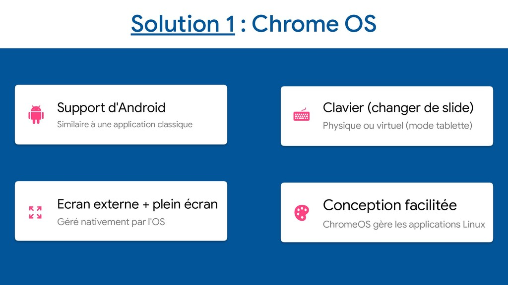 Solution 1 : Chrome OS Support d'Android  Simil...