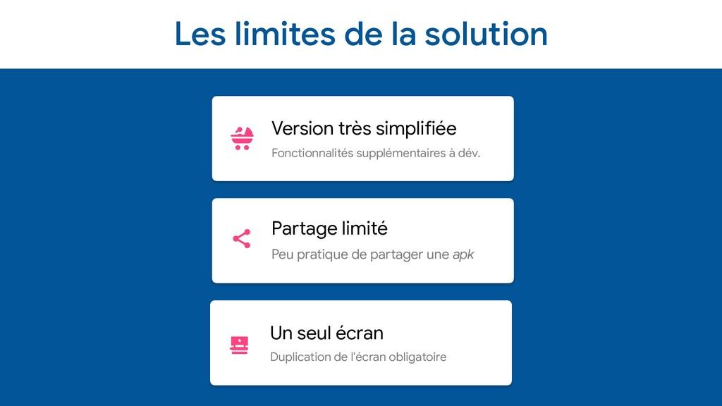 Les limites de la solution Version très simplif...