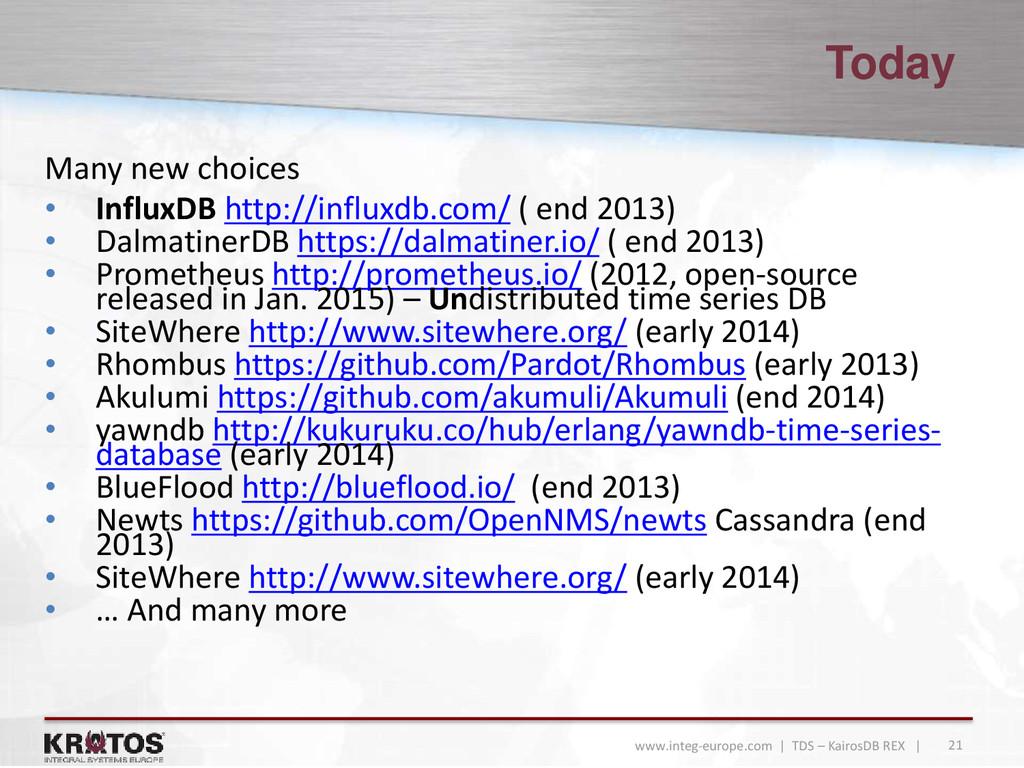 21 www.integ-europe.com | TDS – KairosDB REX | ...