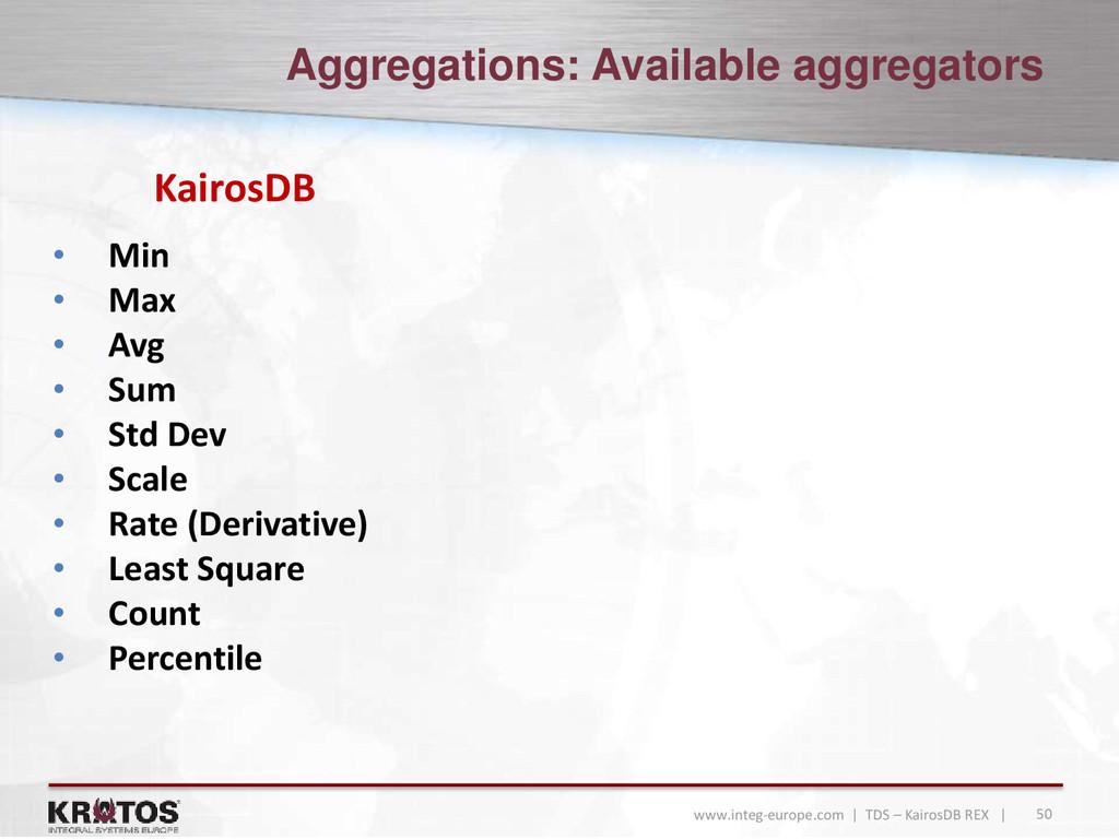50 www.integ-europe.com | TDS – KairosDB REX | ...