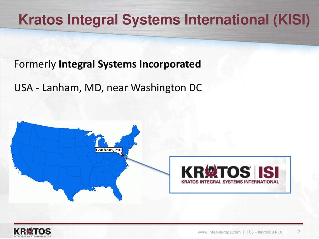 7 www.integ-europe.com | TDS – KairosDB REX | K...