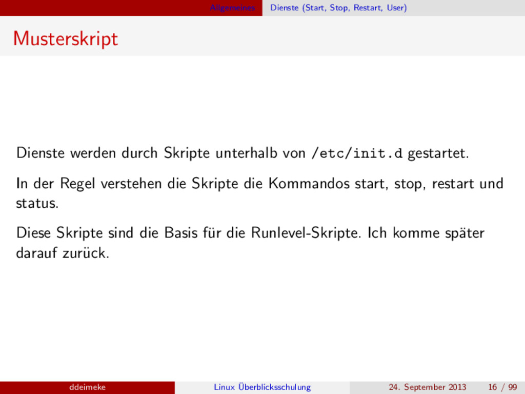 Allgemeines Dienste (Start, Stop, Restart, User...