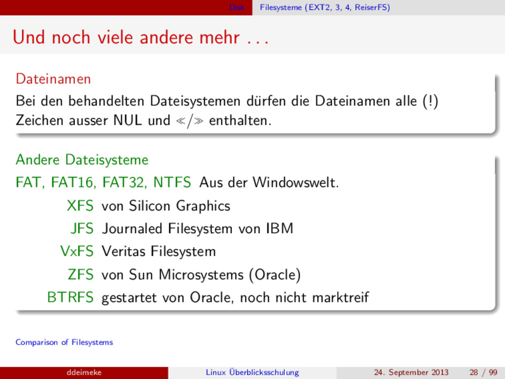 Disk Filesysteme (EXT2, 3, 4, ReiserFS) Und noc...