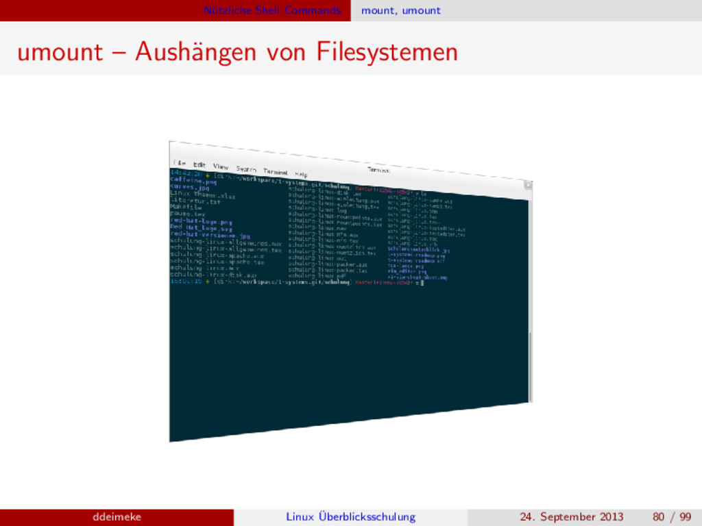 N¨ utzliche Shell Commands mount, umount umount...