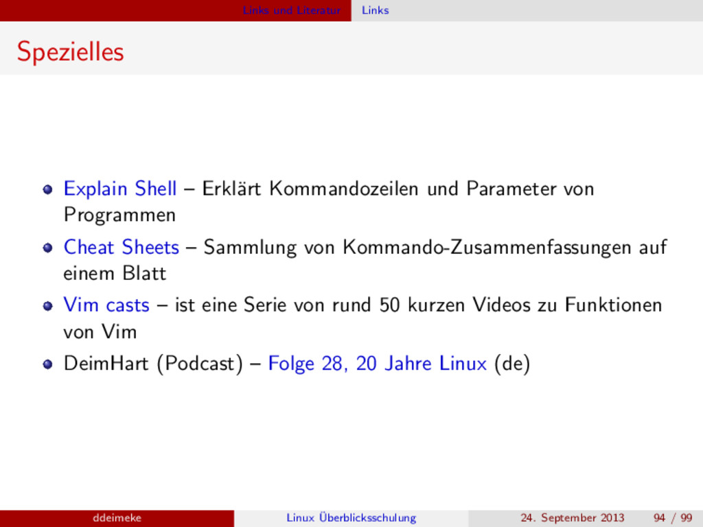 Links und Literatur Links Spezielles Explain Sh...