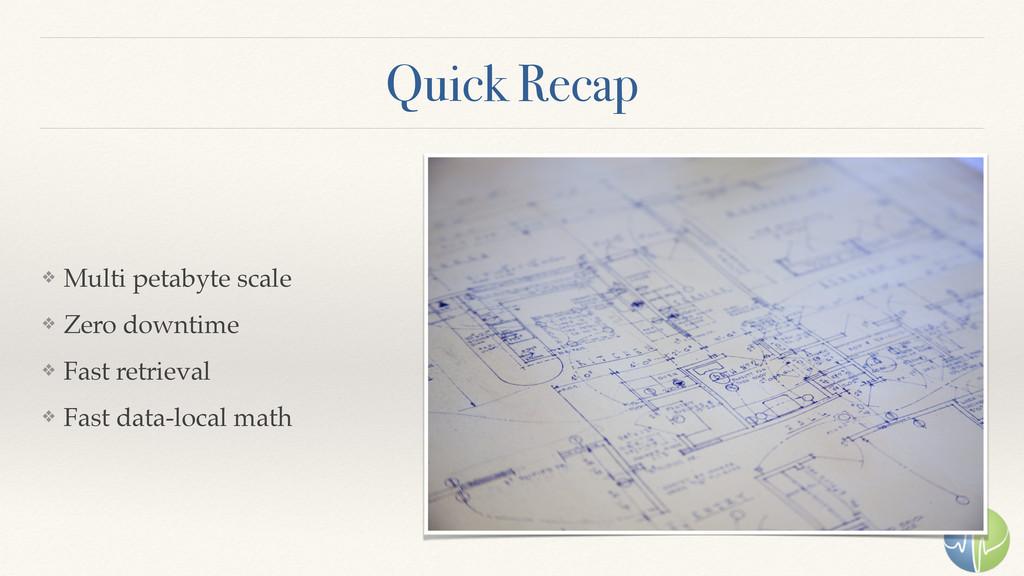 Quick Recap ❖ Multi petabyte scale ❖ Zero downt...