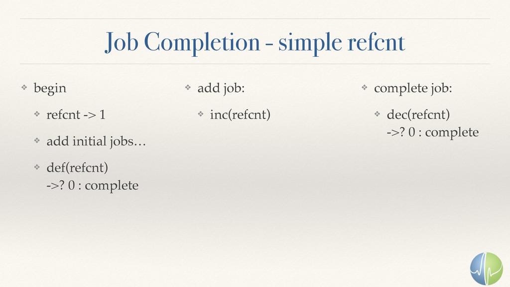 Job Completion - simple refcnt ❖ begin ❖ refcnt...