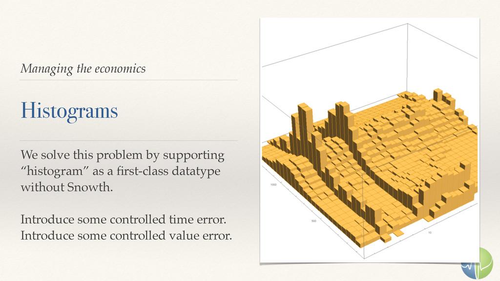 Managing the economics Histograms We solve this...