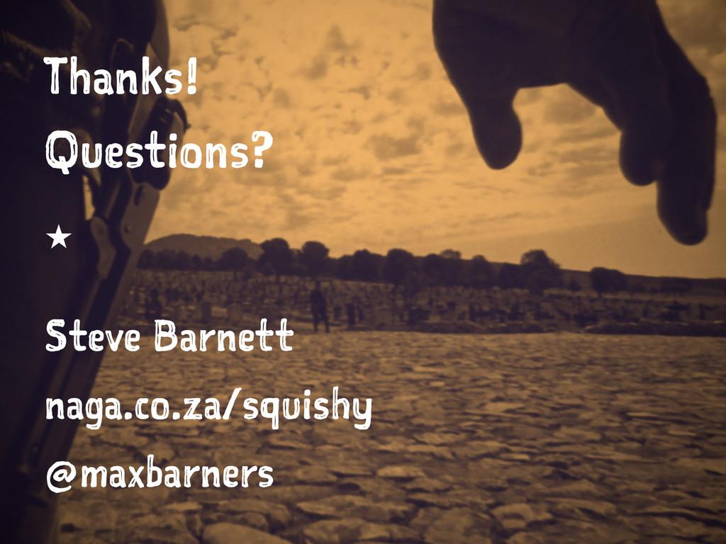 Thanks! Questions?  Steve Barnett naga.co.za/s...