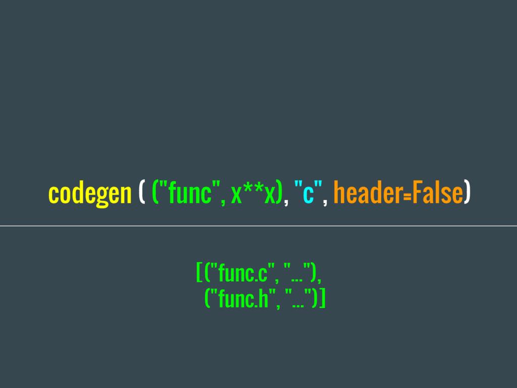 "codegen ( (""func"", x**x), ""c"", header=False) [(..."