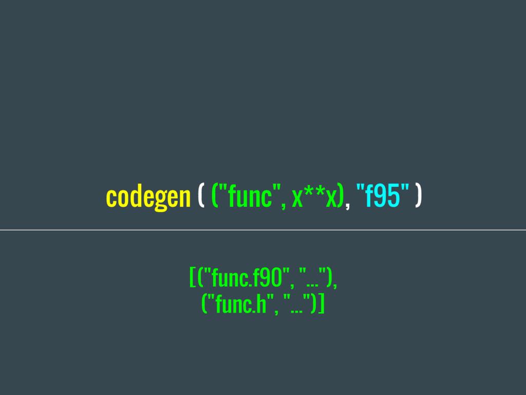 """codegen ( (""""func"""", x**x), """"f95"""" ) [(""""func.f90"""",..."""