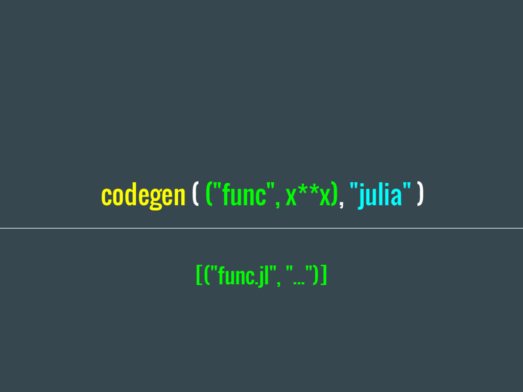 "codegen ( (""func"", x**x), ""julia"" ) [(""func.jl""..."