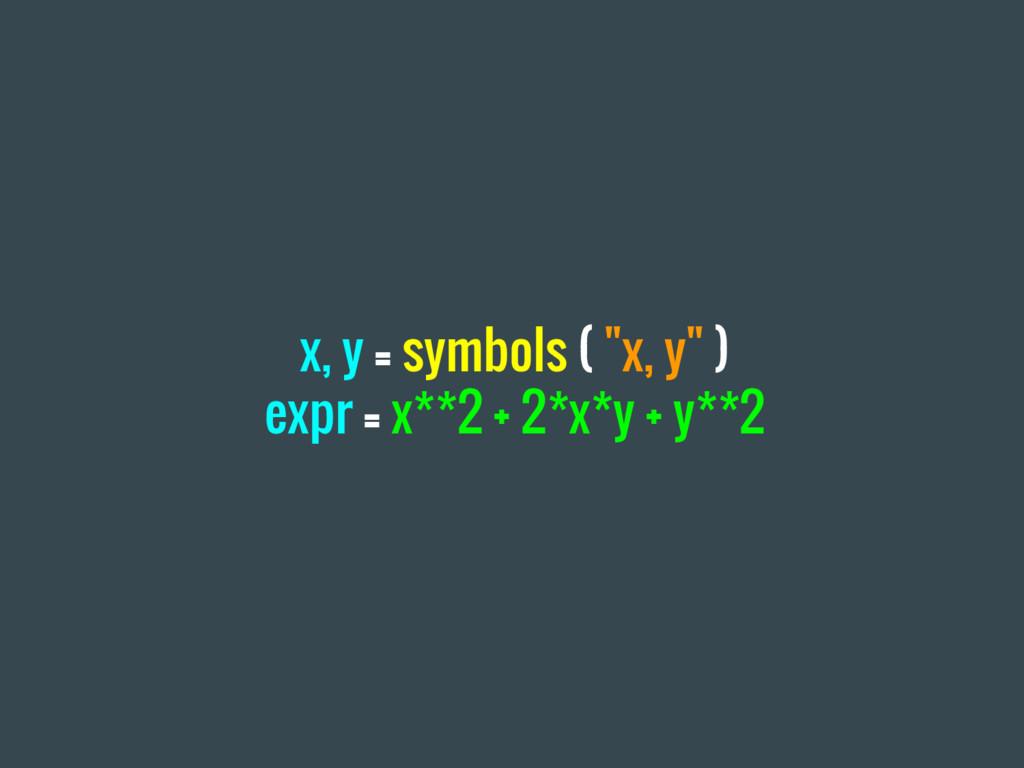 """x, y = symbols ( """"x, y"""" ) expr = x**2 + 2*x*y +..."""