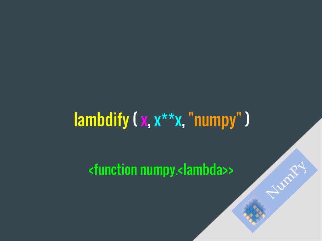 "lambdify ( x, x**x, ""numpy"" ) <function numpy.<..."