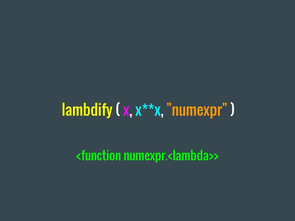 "lambdify ( x, x**x, ""numexpr"" ) <function numex..."