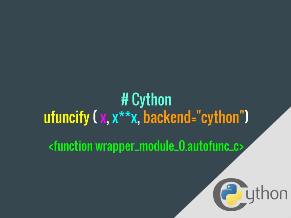 """# Cython ufuncify ( x, x**x, backend=""""cython"""") ..."""