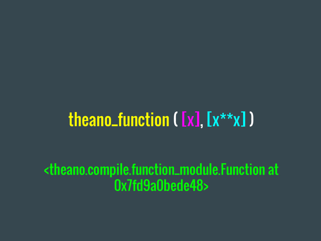 theano_function ( [x], [x**x] ) <theano.compile...