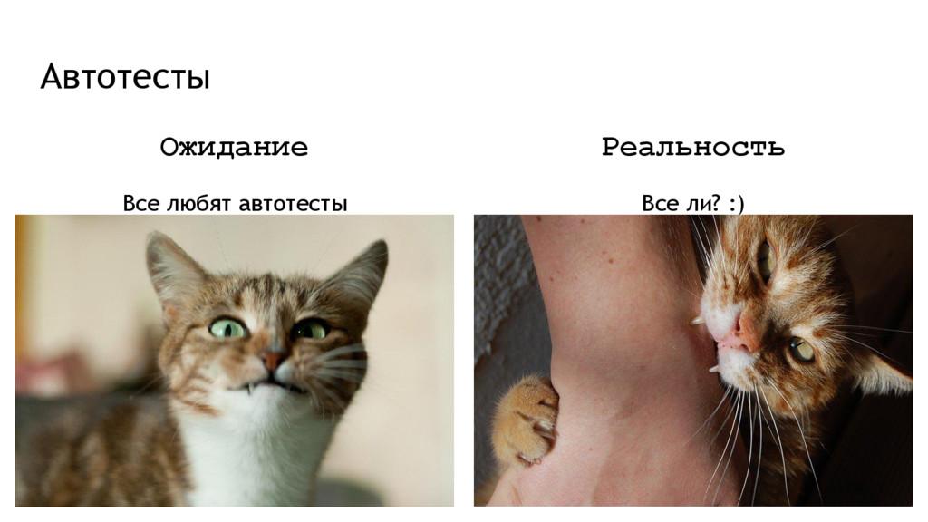 Автотесты Ожидание Все любят автотесты Реальнос...