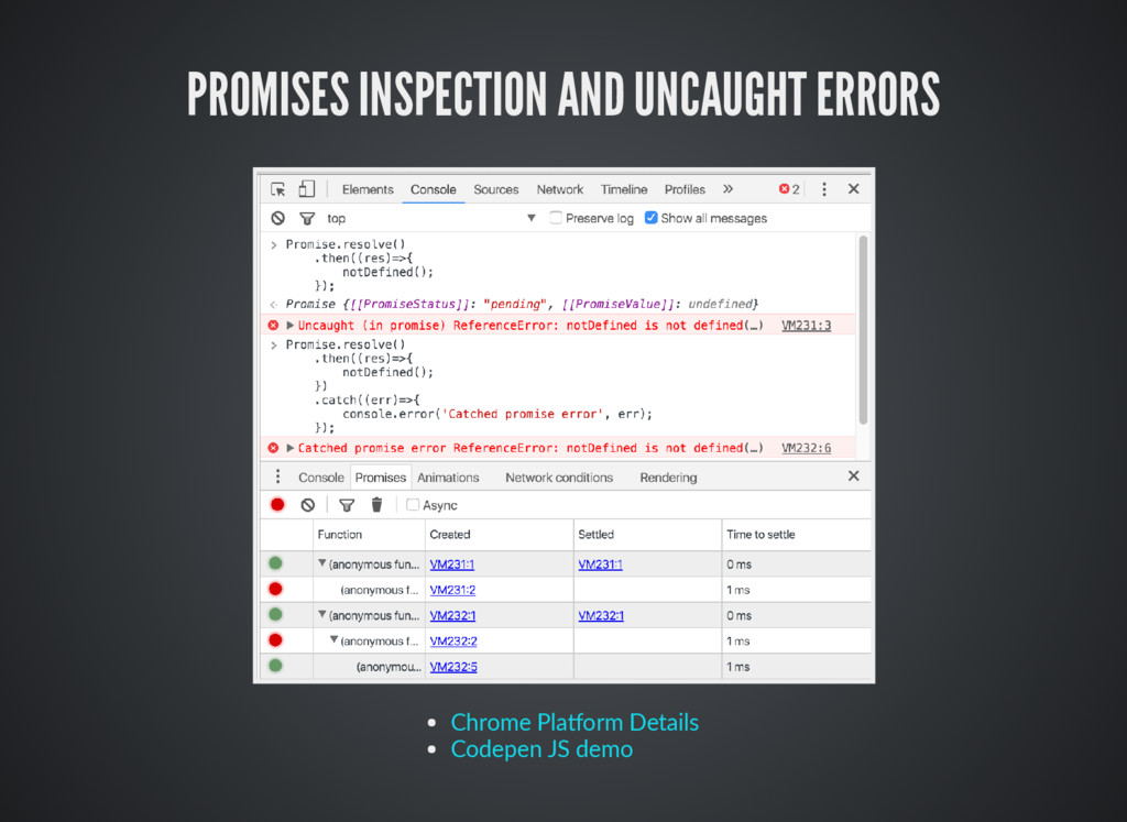 PROMISES INSPECTION AND UNCAUGHT ERRORS Chrome ...