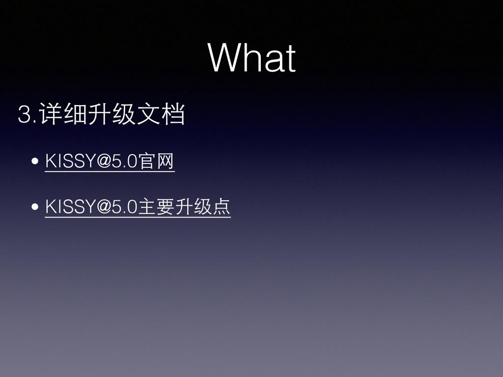 What 3.详细升级⽂文档 • KISSY@5.0官⺴⽹网 ! • KISSY@5.0主要升...