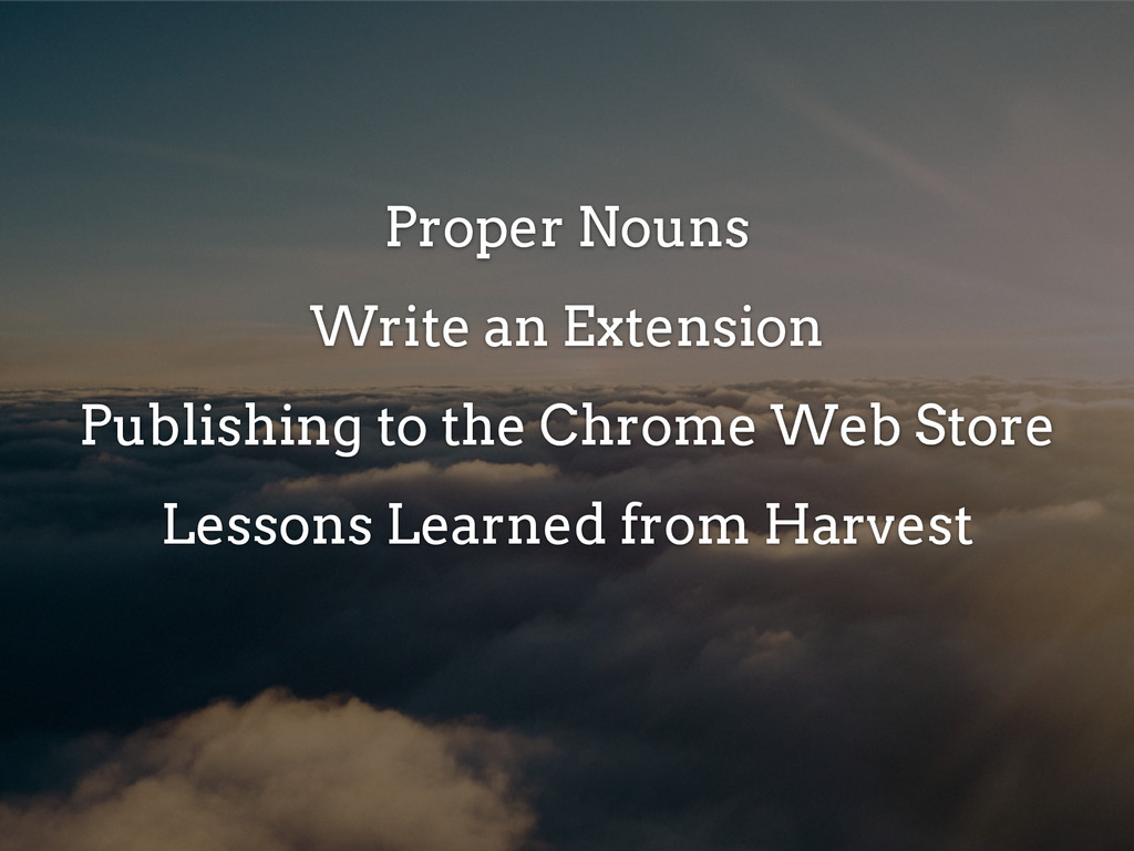 Proper Nouns Write an Extension Publishing to t...