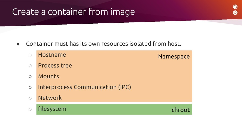 chroot Namespace ● Container must has its own r...
