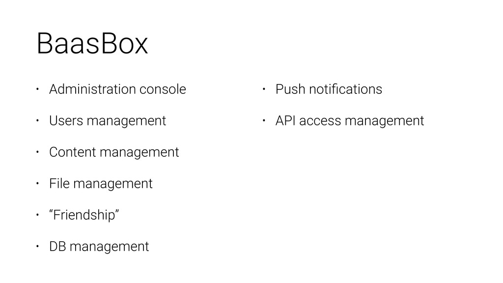 BaasBox • Administration console • Users manage...