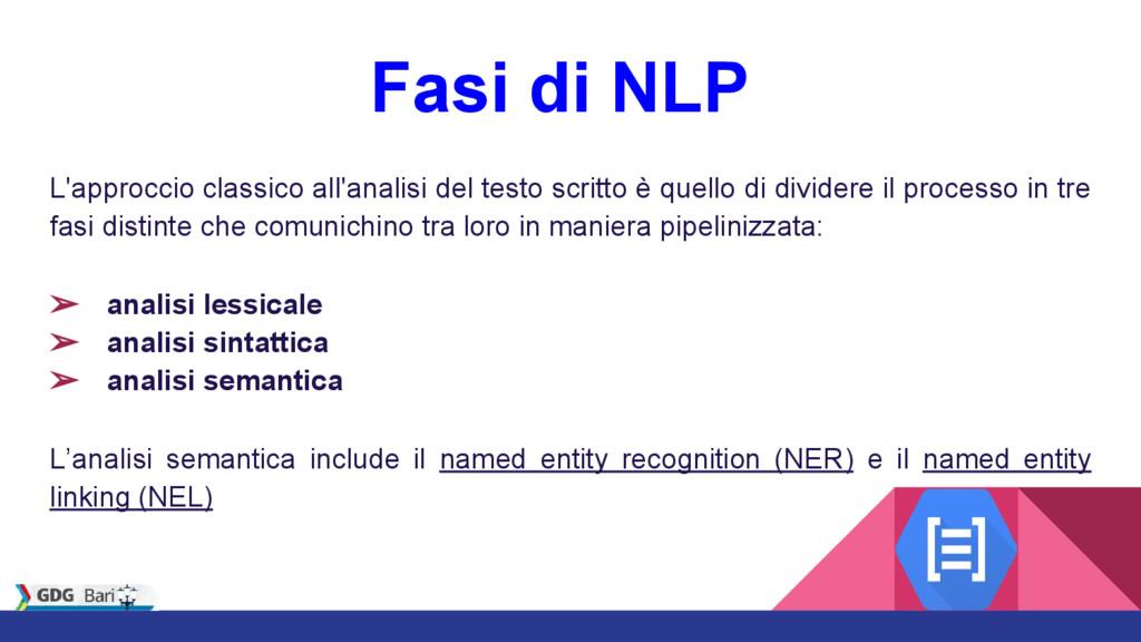 Fasi di NLP L'approccio classico all'analisi de...