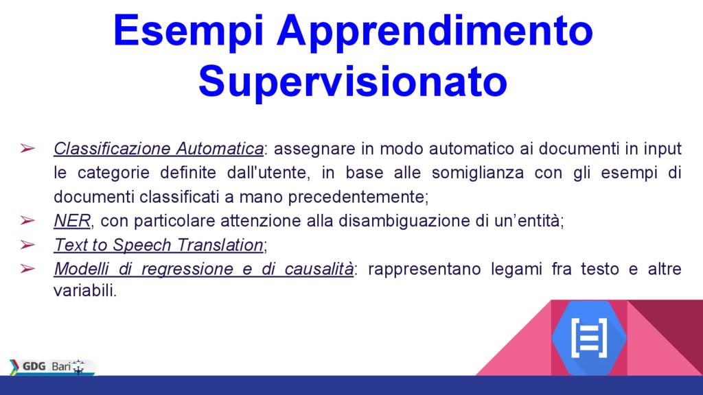 Esempi Apprendimento Supervisionato ➢ Classific...
