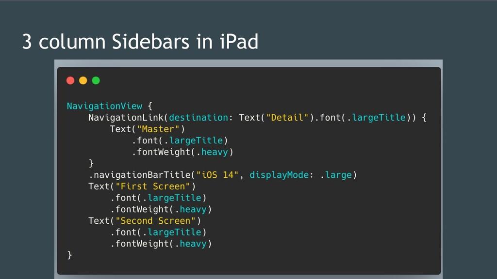 3 column Sidebars in iPad