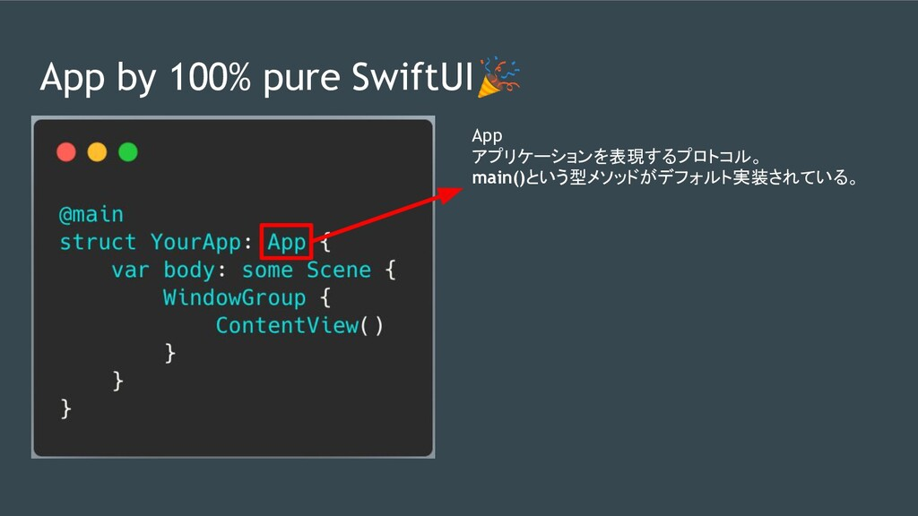 App by 100% pure SwiftUI App アプリケーションを表現するプロトコル...