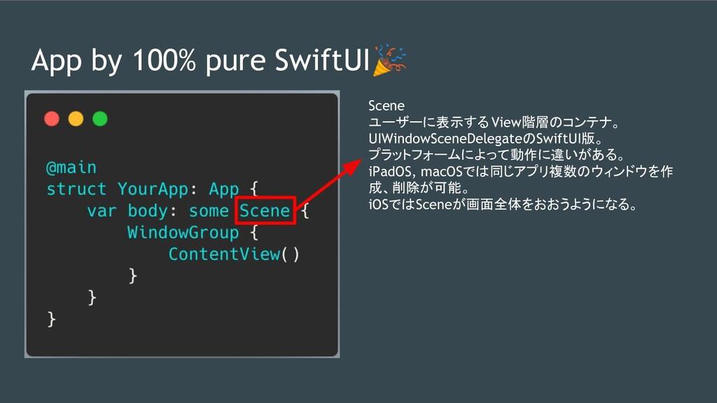 App by 100% pure SwiftUI Scene ユーザーに表示する View階層...